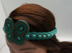 turquoise gold beaded butterfly headband women hair