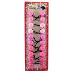 Tara Twinbead Bubble Solid Ponytail Elastics - Shades of Pin