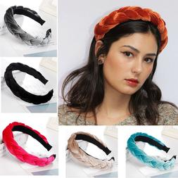 Twisted Hair Accessories Velvet Headband Solid Color Braid H