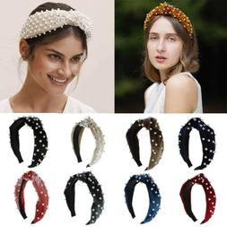 Ladies Velvet Pearl Headband Hairband Twist Braided Knot Tie Hair Accessories