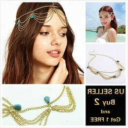 US Vintage Gold Turquoise Bohemian Hair Chain Accessories He