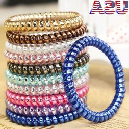 USA 20X Colorful Elastic Telephone Wire Cord Head Ties Hair