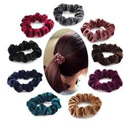 9 Pieces Velvet Hair Scrunchies, Soft Hair Bands Headbands S