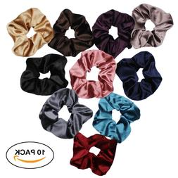Velvet Scrunchies For Hair - 10-Pack Velvet Hair Scrunchie B