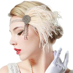 BABEYOND Vintage 1920s Flapper Headband Roaring 20s Great Ga