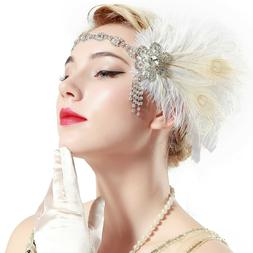 vintage 1920s flapper headband with peacock feather