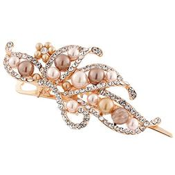 GreatFun Vintage Jewelry Crystal Hairpins Pearl Duckbill Cli