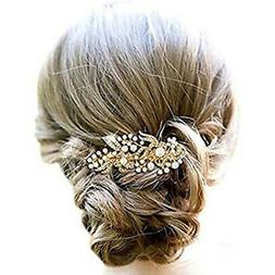 Aukmla Wedding Hair Combs with Bead and Rhinestones, Bridal