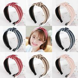 Wide Bow Washing Hair Band Hand-knitted Fabric Knotted Headb