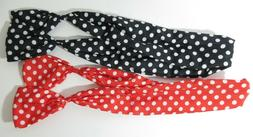 PIXNOR Wire Headband Retro Bowknot Polka Dot Wire Hair Holde