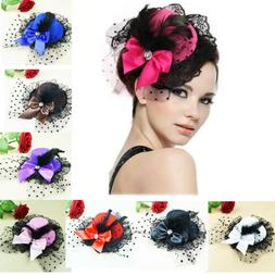 Women Bow Hair Clip Lace Feather Mini Top Hat Fascinator Fan