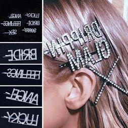 women girls hair clips barrette letter word