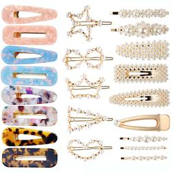 Women Girls Pearl Hair Clip Set Charm Bobby Pin Hairpin Hair
