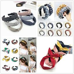 Women Girls Sweet Bowknot Wide Hairband Solid Headband Fashi