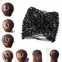 Women Pearl Beads Elastic <font><b>Hair</b></font> Combs Dou