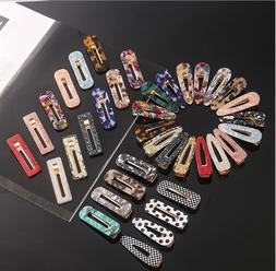 Women's Acrylic Hair Slide Clips Snap Barrettes Hairpin Pins