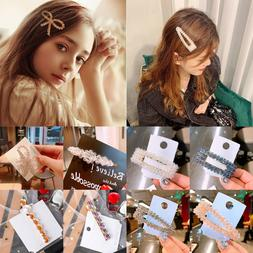Women's Slide Snap Hair Clips Barrette Grips Hairpin Crystal