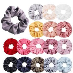 Women Silky Satin Hair Scrunchies Elastic Hair Bands Ponytai