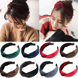 Womens Headband Twist Hairband Bow Knot Cross Tie Velvet Hea