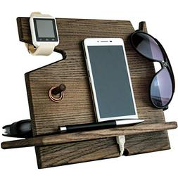 Wooden Cell Phone Stand. Nightstand Multiple Charging Dock W